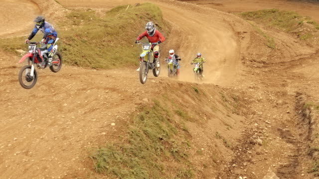 aerial motocross race in a dirt park - motocross video stock e b–roll
