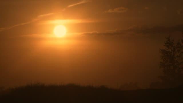 Motocross rider jumps at sunset video