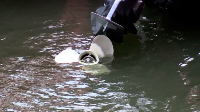 Motor boat in water from the river video