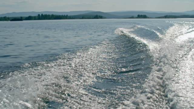 Motor Boat Water Trace on Lake video