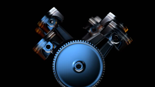 V8 motor with working pistons and crankshafts inside camera fly through. Concept of automobile engine