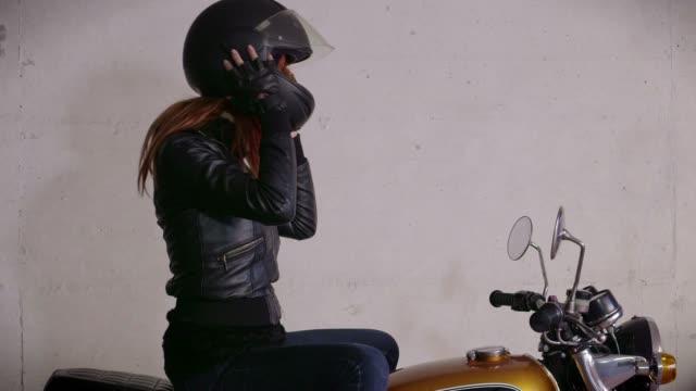 Motorbike Motorcycle Happy Girl Woman Biker Driving Bike With Helmet video