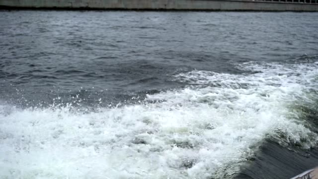 Motorboat sailing and makes waves video