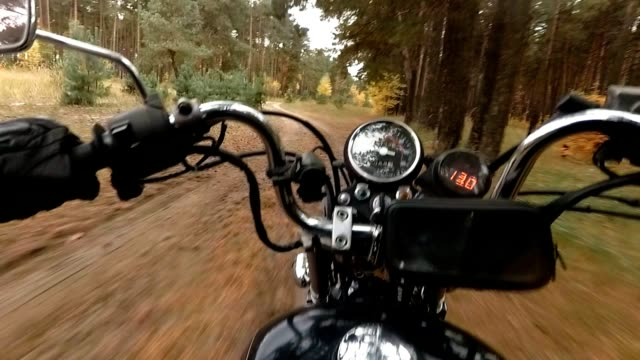 Motorcycle chopper puts on a forest road