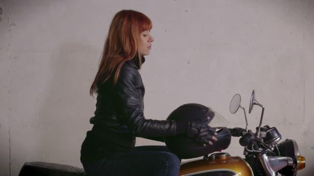 Motorcycle Motorbike Happy Redhead Girl Woman Biker Riding Bike Smiling video