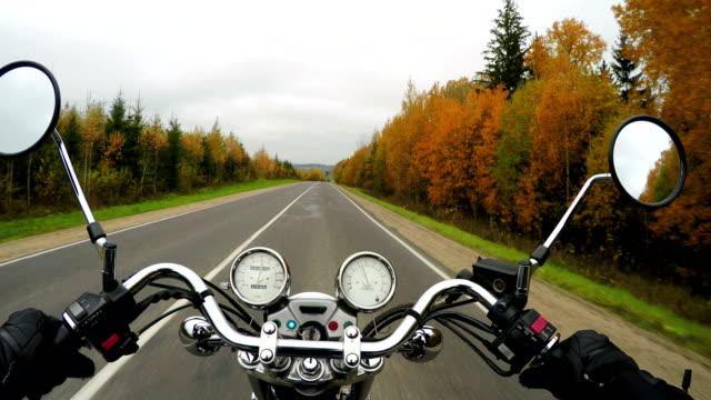 4 k.-motorradfahren auf der schönen bewaldeten straße, breite sicht des fahrers. klassischer cruiser/chopper für immer! - blickwinkel der aufnahme stock-videos und b-roll-filmmaterial