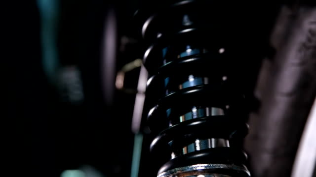 Motorcycle shock absorber, shot close-up video