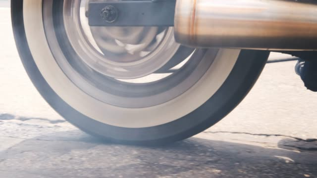 motorcycle tire burn-out - bike tire tracks video stock e b–roll