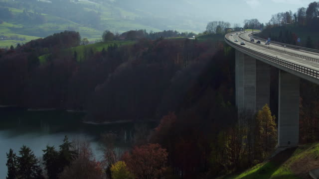A12 motorway passing the Lake of Gruyere video
