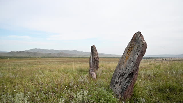 Mounds in the Khakas steppe. video