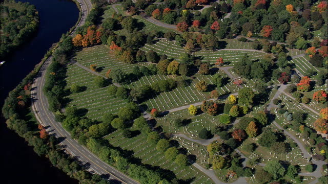 Mount Auburn Cemetery  - Aerial View - Massachusetts,  Middlesex County,  United States video