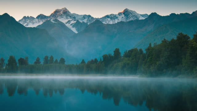 mount cook and  lake matheson new zealand - lakes stock videos and b-roll footage