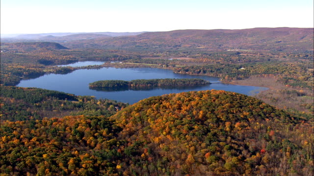 Mount Everett And Sate Border  - Aerial View - Massachusetts,  Berkshire County,  United States video