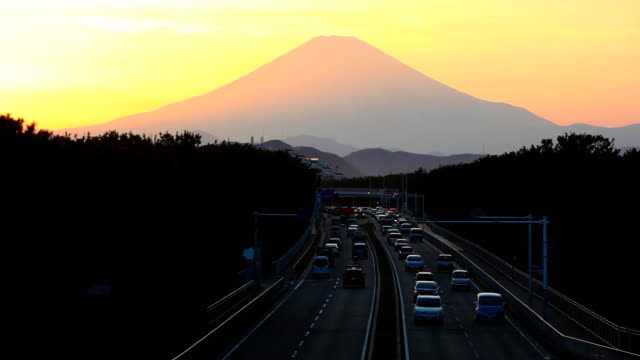 Mount Fuji and traffic at sunset. video