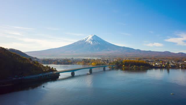 山梨県河口湖で朝、富士山。山。ドローンによる富士山ハイパーラプス。 - 富士山点の映像素材/bロール