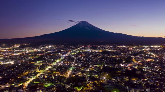 vidéos et rushes de mont fuji sur le coucher du soleil à la ville de fujiyoshida, yamanashi, japon. mt. fujisan hyperlapse par drone. - fuji yama