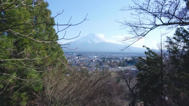 Mount Fuji snow mountain and city