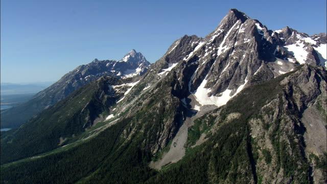 Mount Moran  - Aerial View - Wyoming,  Teton County,  helicopter filming,  aerial video,  cineflex,  establishing shot,  United States video