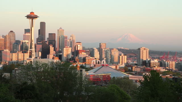Mount Rainier and Seattle Space Needle Sunset video
