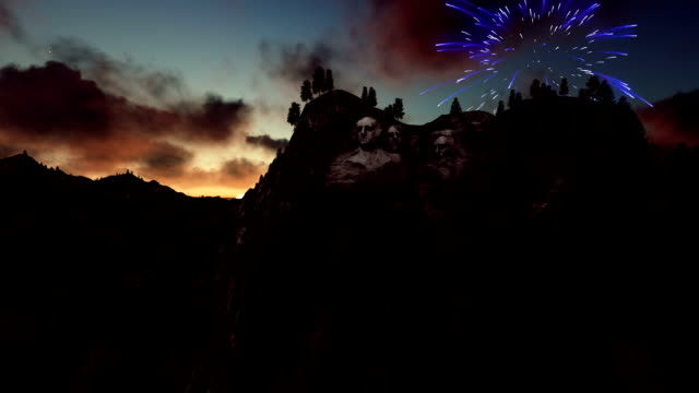 Mount Rushmore, 4th of July Fireworks at sunrise video