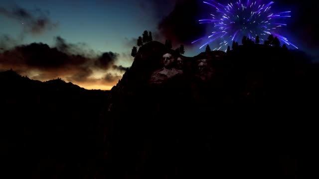 Mount Rushmore, 4th of July Fireworks at sunset video