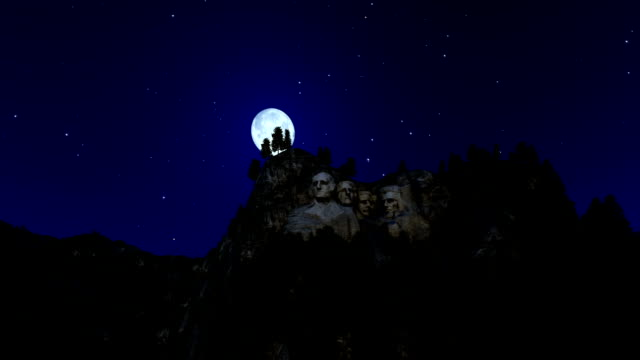 Mount Rushmore at night, timelapse moon rising video