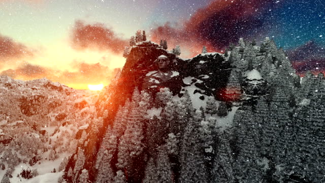 Mount Rushmore in winter, timelapse sunrise, snowing, camera fly video