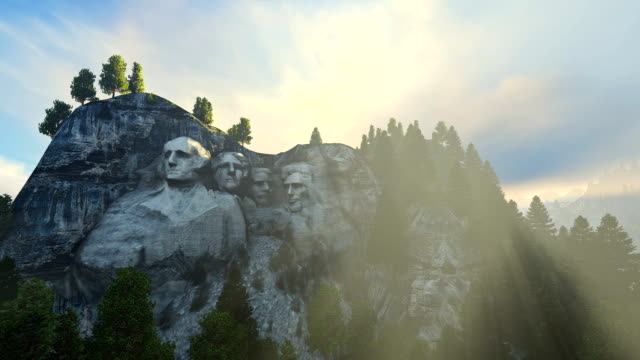 Mount Rushmore morning mist video