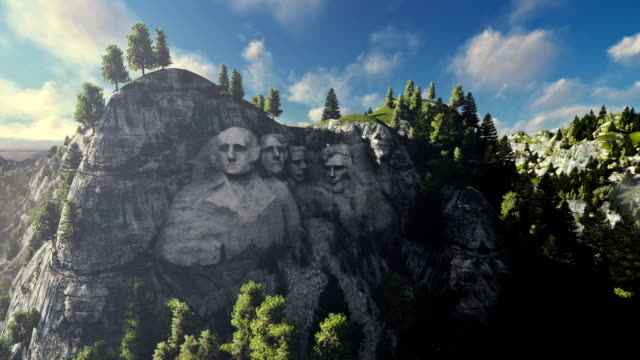 Mount Rushmore on a sunny day, timelapse clouds video