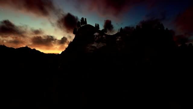 Mount Rushmore, timelapse sunrise, camera fly video