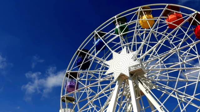 Mount Tibidabo ferris wheel spins video
