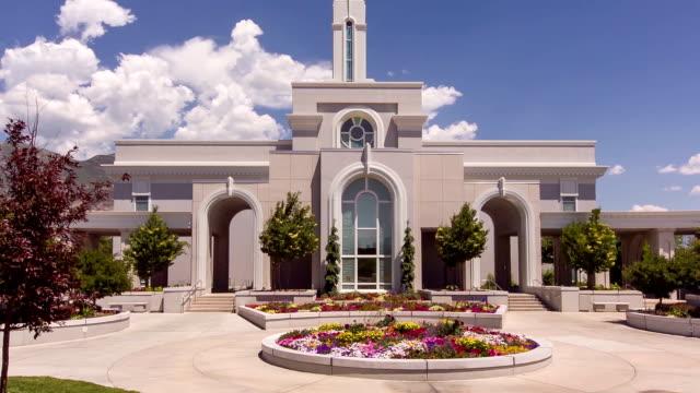 Mount Timpanogos Mormon Temple Aerial Pan sunset video