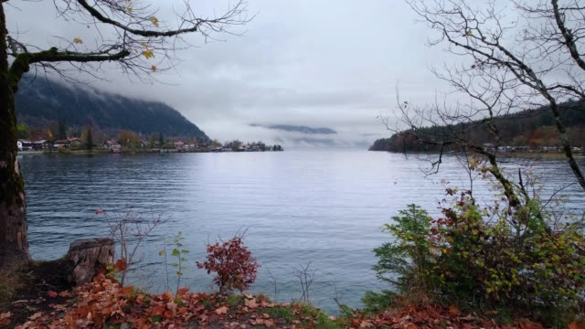 Mountain alpine autumn overcast evening lake Walchensee view, Kochel, Bavaria, Germany.