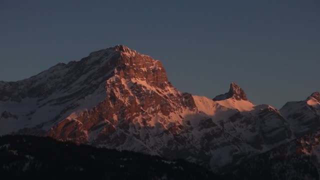 Mountain At Sunset winter mountainscape at sunset rock formations stock videos & royalty-free footage