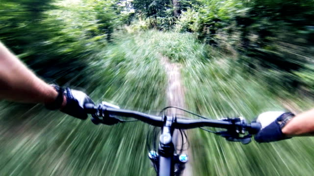 stockvideo's en b-roll-footage met mountain bike singletrack downhill, mtb persoonlijk perspectief - gopro