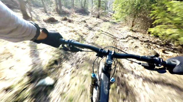 Mountain bike speed ride in woods, personal perspective cycling 4K 30fps. video