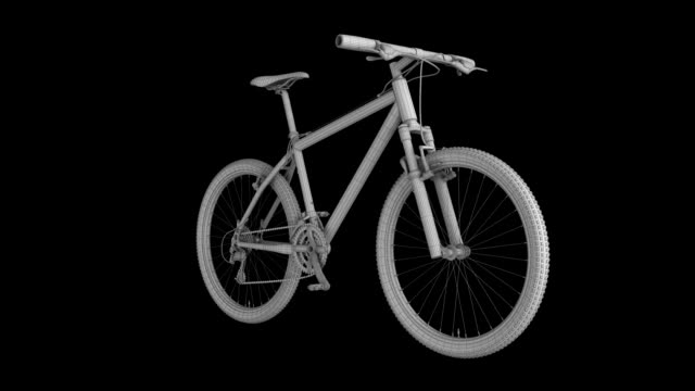 Mountain Bike Wire Frame rotating loop isolated with luma matte Mountain Bike Wire Frame rotating loop isolated with luma matte wire frame model stock videos & royalty-free footage