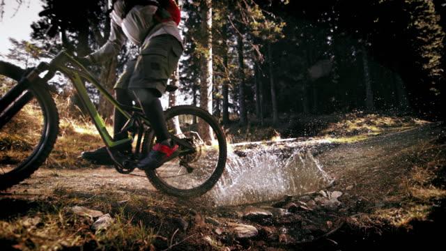 speed ramp mountain biker che attraversa una pozzanghera nella foresta sotto il sole - andare in mountain bike video stock e b–roll