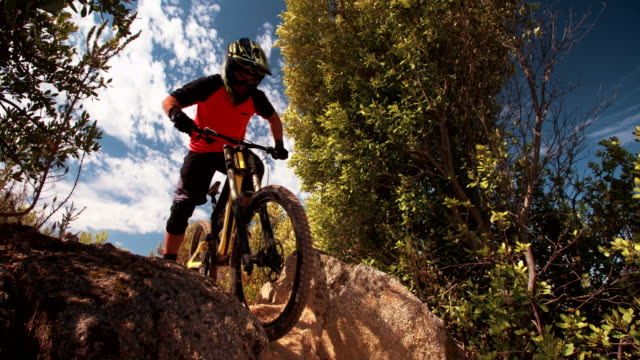 Mountain biker riding downhill on a on off-road trail video