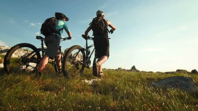 HD: Mountain Bikers Arriving At The Destination video