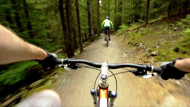 Mountain bikers POV video