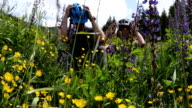 istock Mountain biking couple relax in meadow surrounded by wildflowers 1162277534