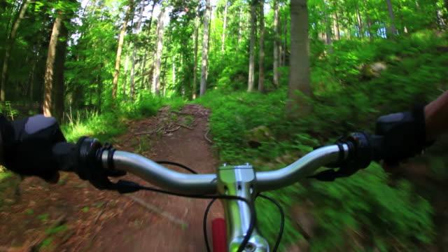 POV Mountain Biking Through Spring Forest video