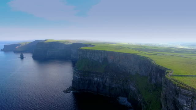 Mountain cliffs and the sea in the Cliffs of Moher video