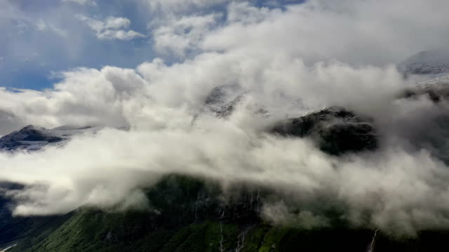 mountain cloud top view landscape. beautiful nature norway natural landscape - nord europeo video stock e b–roll