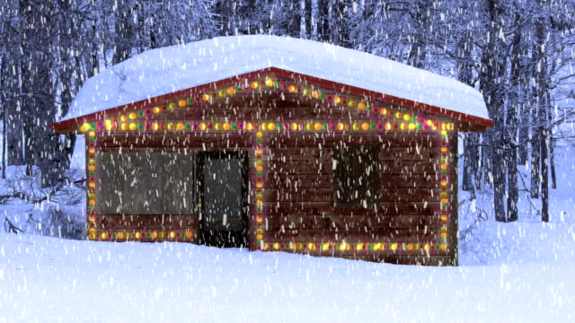 Mountain cottage merry Christmas A mountain cottage during a snowfall in a woodland with Christmas lightings and a composing Merry Christmas writing chalet stock videos & royalty-free footage