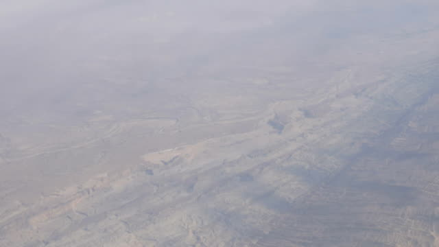Mountain desert landscape, top view from airplane video