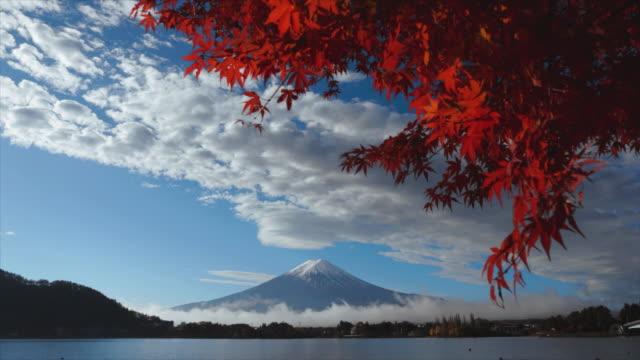 Mountain fuji with red maple in autumn view from lake Kawaguchiko , Japan