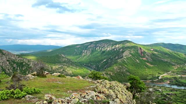 mountain hdr 1080p time lapse with moving storm clouds - bulgarien bildbanksvideor och videomaterial från bakom kulisserna