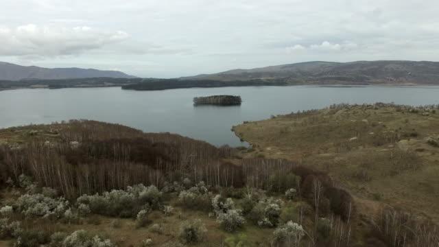 4K Mountain Lake Aerial view video